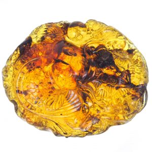 Detailed Fish Relief in Mexican Amber
