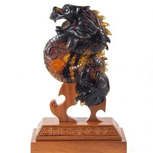 Mexican Amber Carving of a Small Dragon