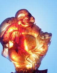 Mexican Amber Carving of Laughing Buddha