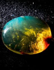 Blue Green Mexican Amber Oval Cabochon 4 g