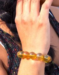 Calibrated Mexican Amber Sphere Bracelet 16.1 g, Grade B+, Sphere dimension: 12-13 mm