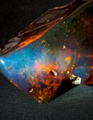 Dominican Blue Green Amber Chunk, Half Polished 159.6 g
