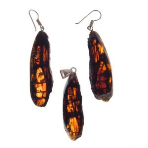 Earrings and Pendant Set in Mexican Amber Slices 15.9 g