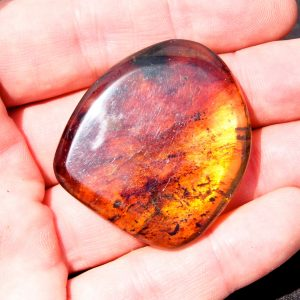 Fully Polished Mexican Blue Green Amber Double-sided Cabochon 12.2 g, Grade B