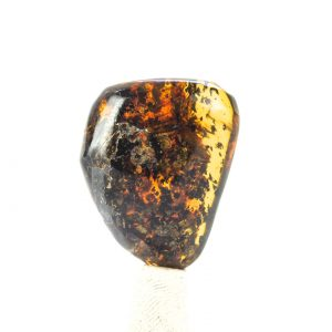 Fully Polished Mexican Blue Green Amber Inclusion with Methane Termite 7g