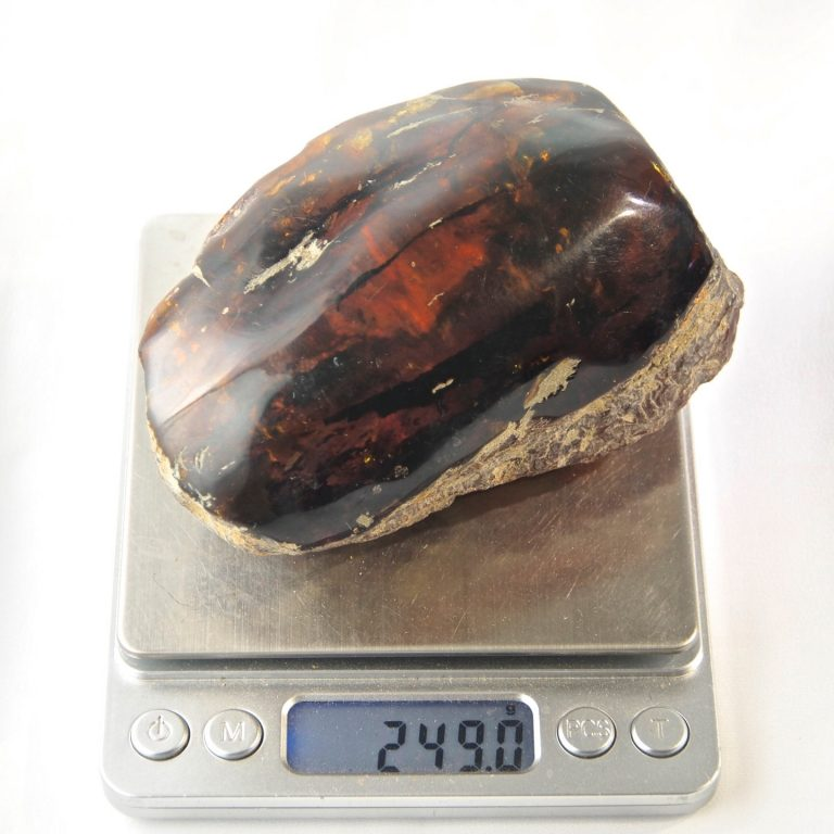 Green Dominican Amber Stone, Half Polished 249.1 g, Grade B