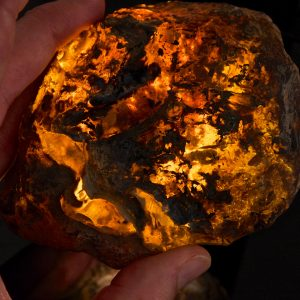 Half Polished Blue Dominican Amber Stone 159.5 g