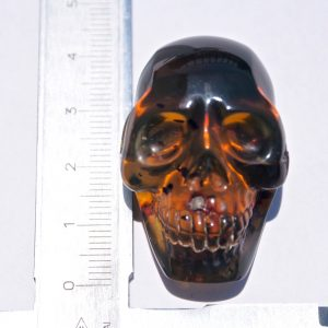 Hand Carved Mexican Blue Green Amber Skull  12 g, Grade B