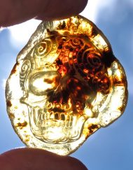 Hand Carved Skull Relief in Mexican Blue Green Amber 10.1 g, Grade B