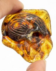 Hand Carved Skull Relief in Mexican Blue Green Amber 11.8 g, Grade B