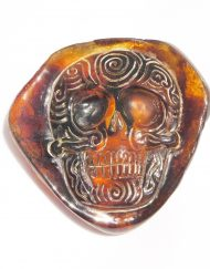 Hand Carved Skull Relief in Mexican Blue Green Amber 13.6 g, Grade B