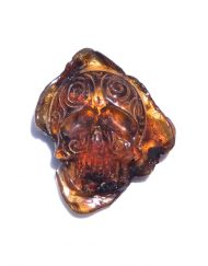 Hand Carved Skull Relief in Mexican Blue Green Amber 5.4 g, Grade B