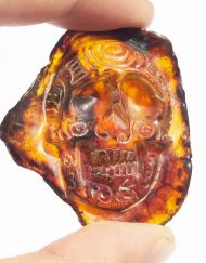 Hand Carved Skull Relief in Mexican Blue Green Amber 5.9 g, Grade B