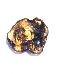 Hand Carved Skull Relief in Mexican Blue Green Amber 6.7 g, Grade B