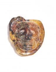 Hand Carved Skull Relief in Mexican Blue Green Amber 8.5 g, Grade B