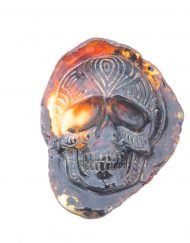 Hand Carved Skull Relief in Mexican Blue Green Amber 9.8 g