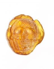 Hand Carved Skull Relief in Mexican Blue Green Amber 9.8 g, Grade A-