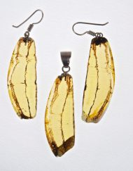 Mexican Amber Slices Earrings and Pendant Set 14.7 g