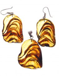 Mexican Amber Slices Earrings and Pendant Set 23.1 g