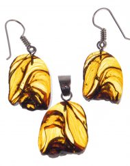 Mexican Amber Slices Earrings and Pendant Set  7.9 g