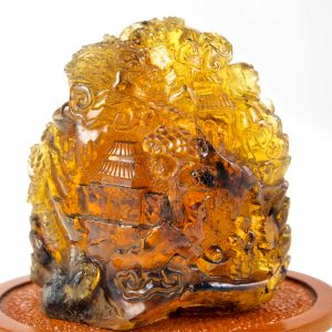 Mexican Blue Green Amber Carving of Laughing Buddha in Temple Garden