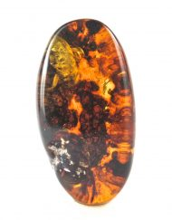 Polished Mexican Blue Green Amber with Methane Termite Inclusion 6.8g