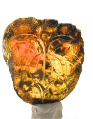 Lotus Flower Carving Glyph Mexican Amber