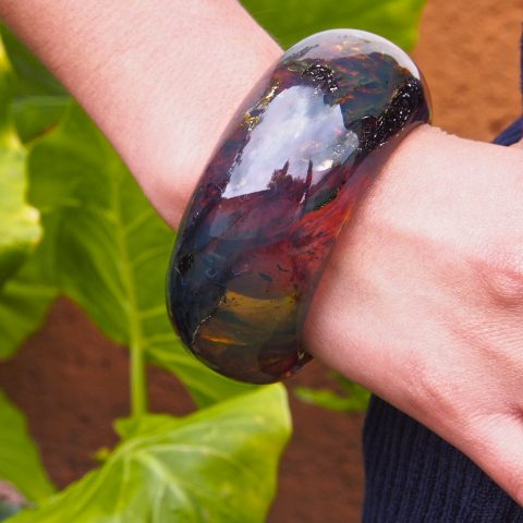Bangle made from solid Mexican amber
