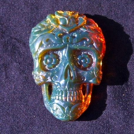 Mexican Amber Day of the Dead Skull in sunlight