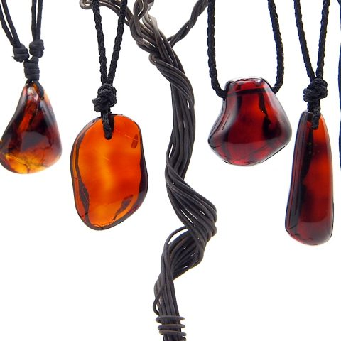 Mexican Red Amber Pendants with Macrame Cord